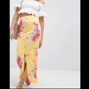 ASOS Design petite Maxi Skirt with with Buttons